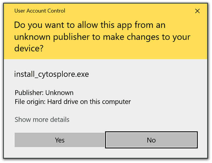 Cytosplore Installer Admin Rights Dialog