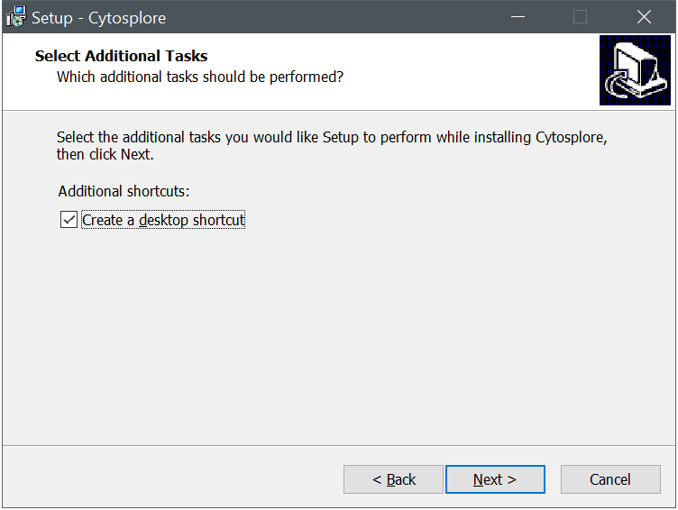 Cytosplore Installer Desktop Shortcut Dialog