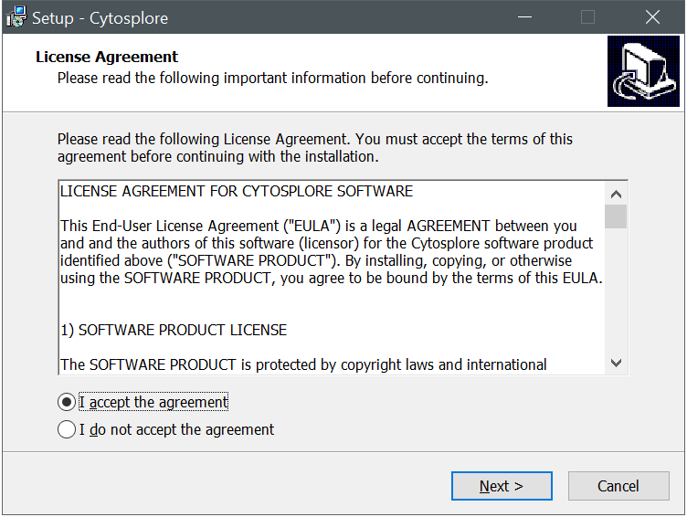 Cytosplore Installer License Dialog