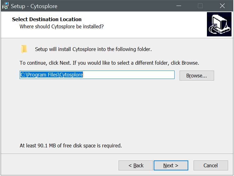 Cytosplore Installer Location Dialog
