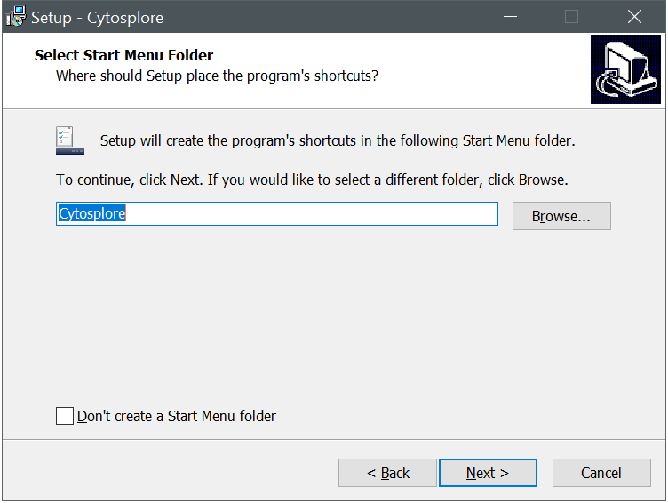 Cytosplore Installer Start Menu Dialog