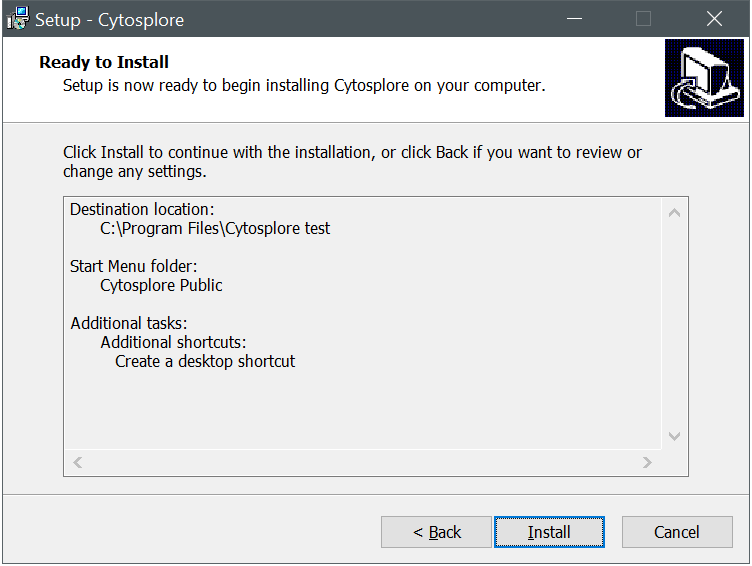 Cytosplore Installer Summary Dialog